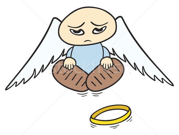 Triste angelo piccolo rotto halo terra Foto d'archivio © oxygen64