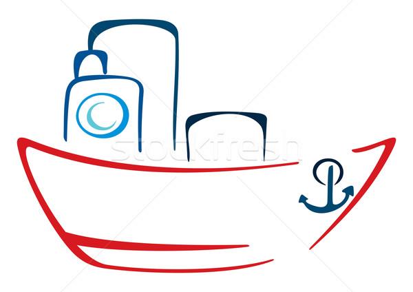 Parowiec ilustracja szkic statku odizolowany biały Zdjęcia stock © oxygen64