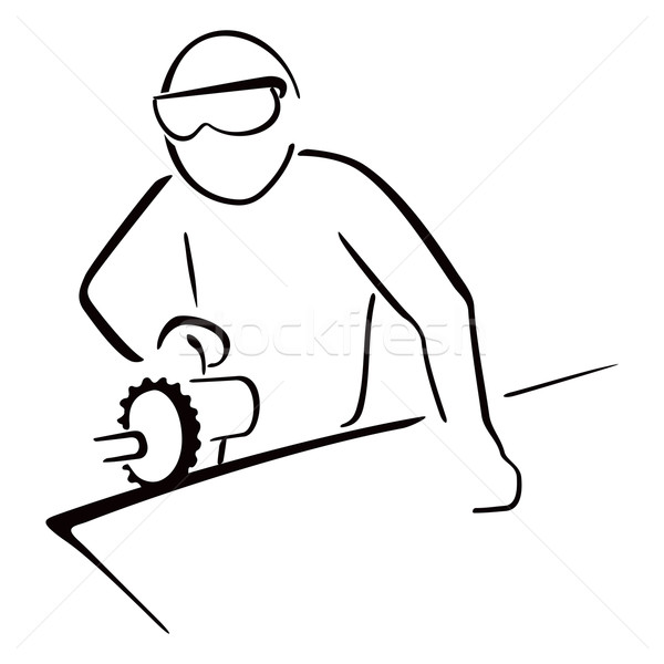 Endüstriyel işçi marangoz çalışmak elektrik testere Stok fotoğraf © oxygen64