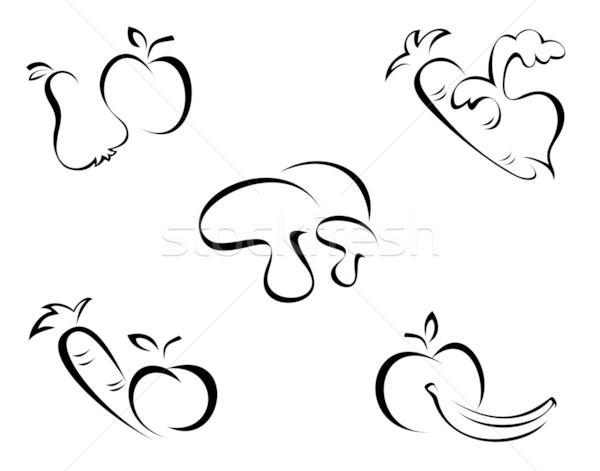 Sebze semboller siyah meyve beyaz gıda Stok fotoğraf © oxygen64