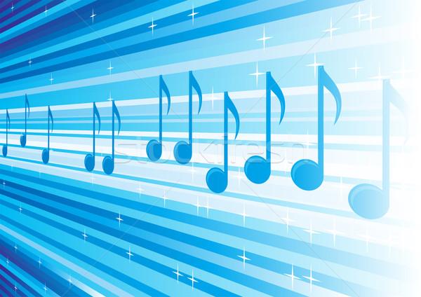 Melodía cielo azul notas musicales líneas diseno Foto stock © oxygen64