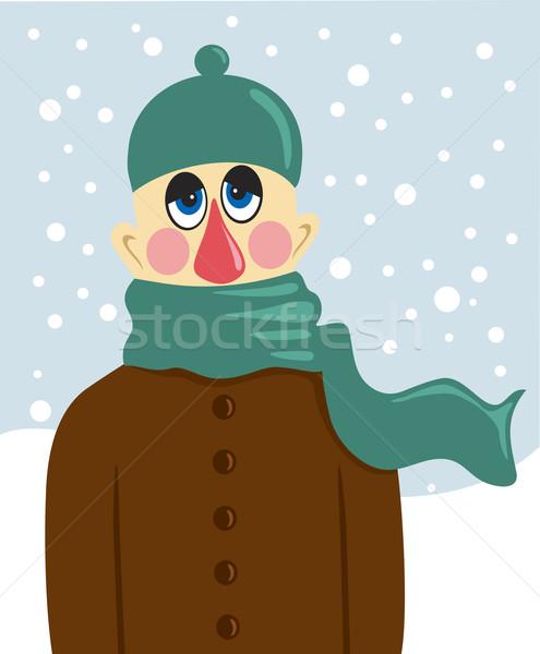 Hasta adam portre kış yüz üzücü Stok fotoğraf © oxygen64