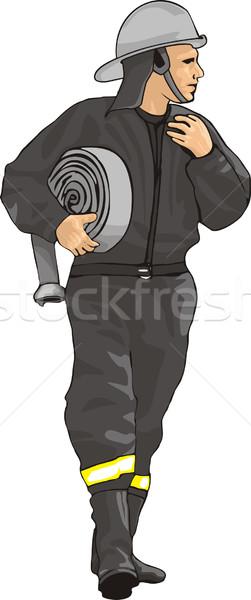 Bombeiro salvar serviço engrenagem chama capacete Foto stock © oxygen64