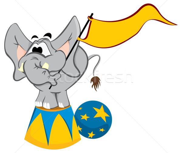 Képzett elefánt cirkusz vágány üres zászló Stock fotó © oxygen64