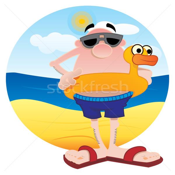 Turist plaj adam ördek su Stok fotoğraf © oxygen64