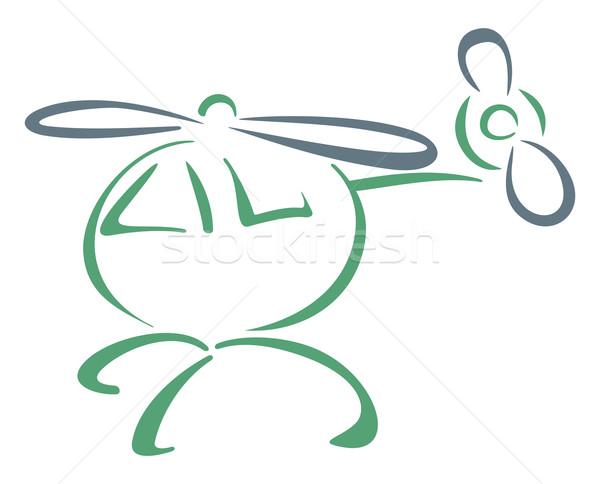 ヘリコプター 実例 スケッチ 孤立した 白 平面 ストックフォト © oxygen64
