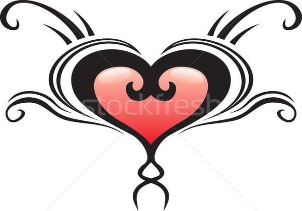 Szív címer tetoválás illusztráció szépség retro Stock fotó © oxygen64
