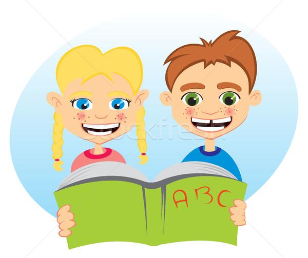 öğrenme birlikte erkek kız okuma bir Stok fotoğraf © oxygen64