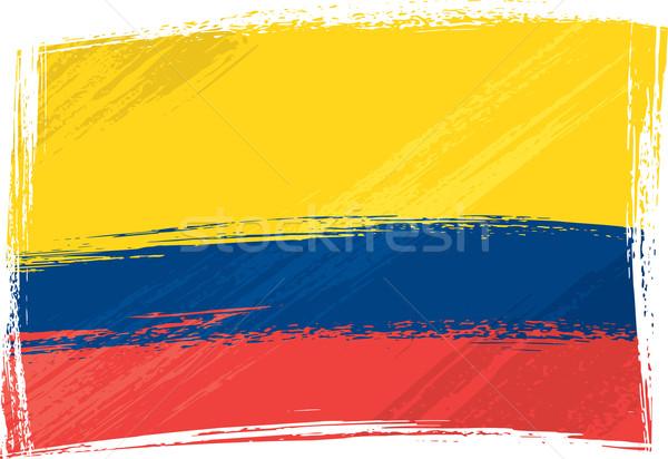Grunge Colombia vlag stijl Blauw Stockfoto © oxygen64