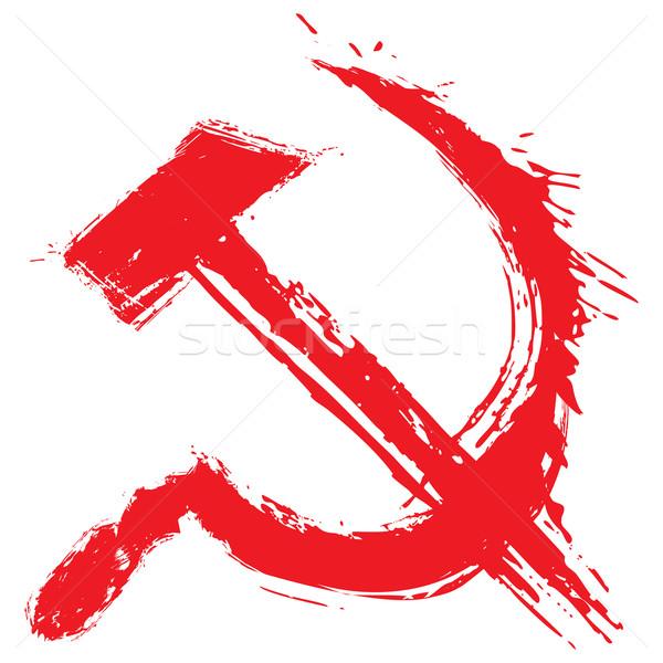 ストックフォト: 共産主義 · シンボル · 実例 · グランジ · スタイル · 赤