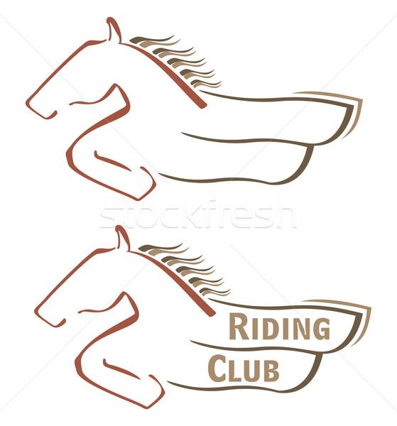 Mustang símbolo diseno equitación club animales Foto stock © oxygen64