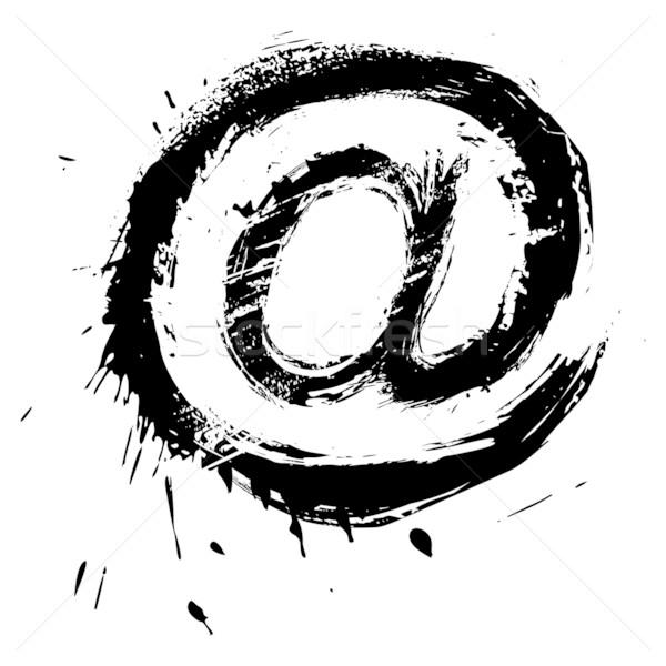 Stock fotó: Email · szimbólum · grunge · stílus · internet · felirat