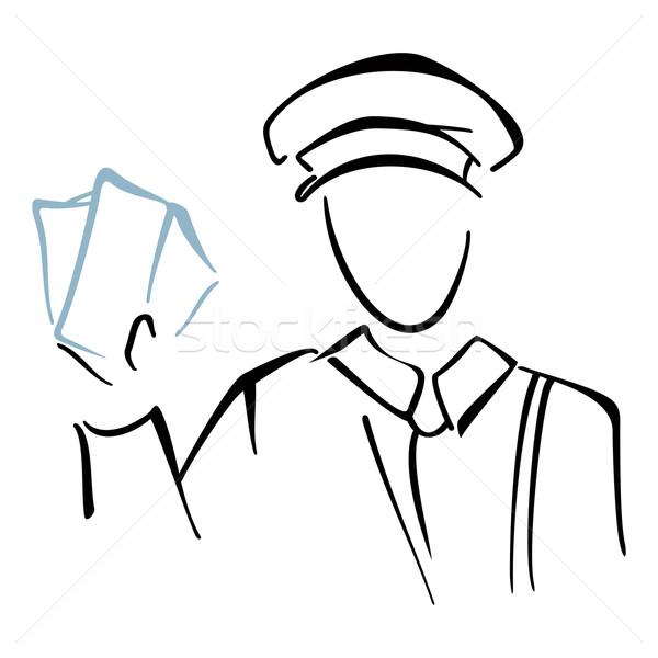 Briefträger Skizze Illustration Briefträger Briefe Hand Stock foto © oxygen64