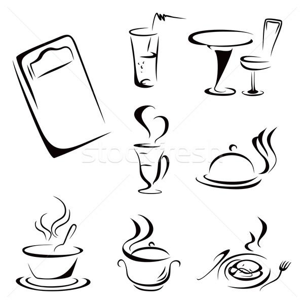 Gıda semboller toplama siyah içkiler simgeler Stok fotoğraf © oxygen64