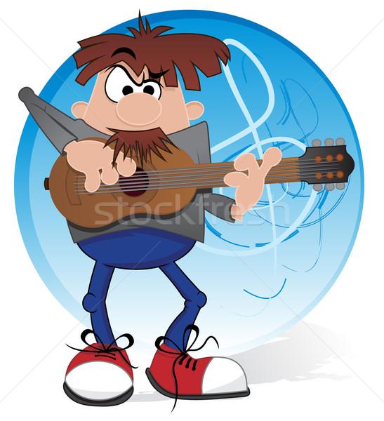 Zenész gitár illusztráció gitáros játszik akusztikus gitár Stock fotó © oxygen64