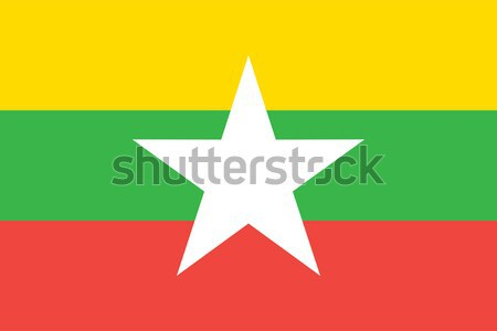 Birma Myanmar vlag vector Stockfoto © oxygen64