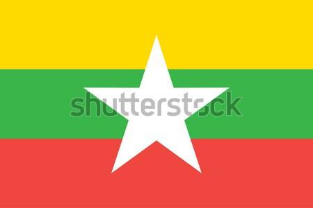 Birmânia Mianmar bandeira vetor Foto stock © oxygen64