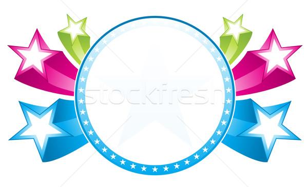 星 周りに フレーム カラフル 背景 緑 ストックフォト © oxygen64