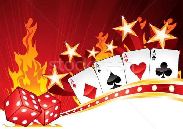 Sıcak kumarhane kartları Yıldız star kırmızı Stok fotoğraf © oxygen64