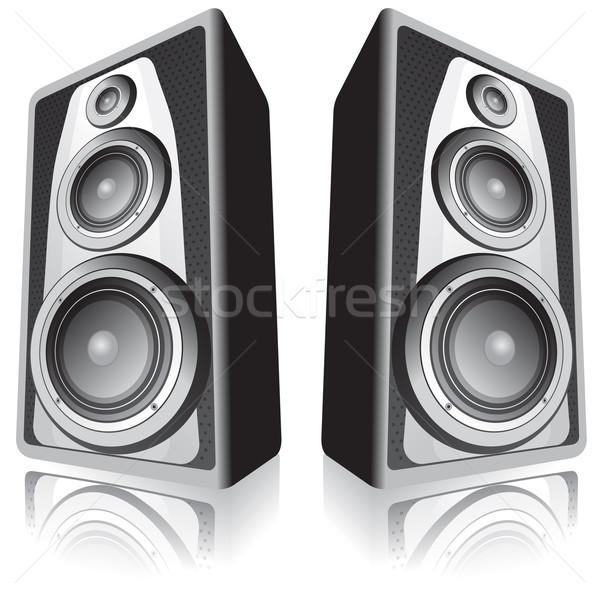 Hoparlörler beyaz iki yalıtılmış müzik parti Stok fotoğraf © oxygen64