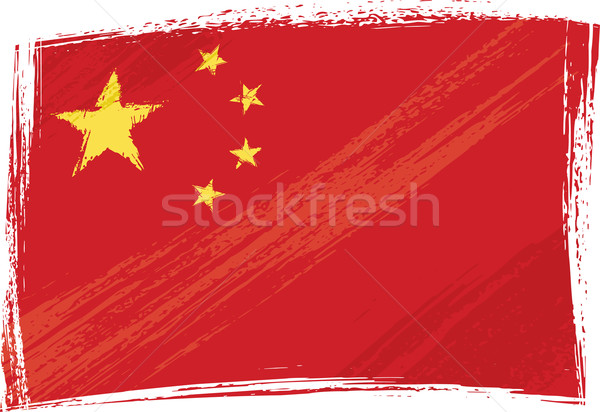 Grunge Kína zászló stílus graffiti Stock fotó © oxygen64