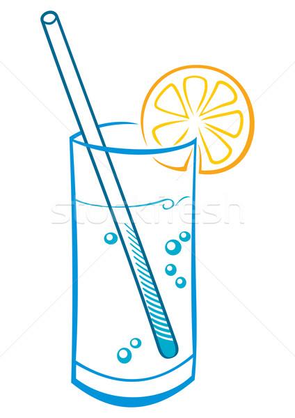 Taze içmek cam soda limon saman Stok fotoğraf © oxygen64