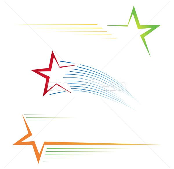 Star üç renkli piktogramlar Yıldız Stok fotoğraf © oxygen64
