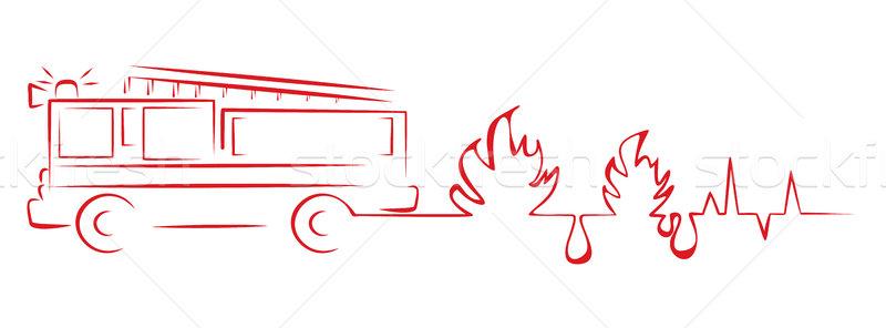 Tűz megelőzés teherautó szívverés kardiogram forma Stock fotó © oxygen64