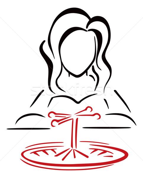 Kadın kumarbaz uzun saçlı kadın kumarhane oynama Stok fotoğraf © oxygen64