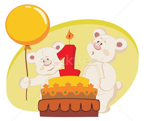 Doğum günü pastası iki doğum günü gıda Stok fotoğraf © oxygen64