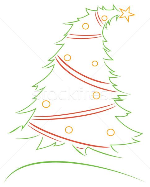 Noel dizayn noel ağacı beyaz soyut Stok fotoğraf © oxygen64