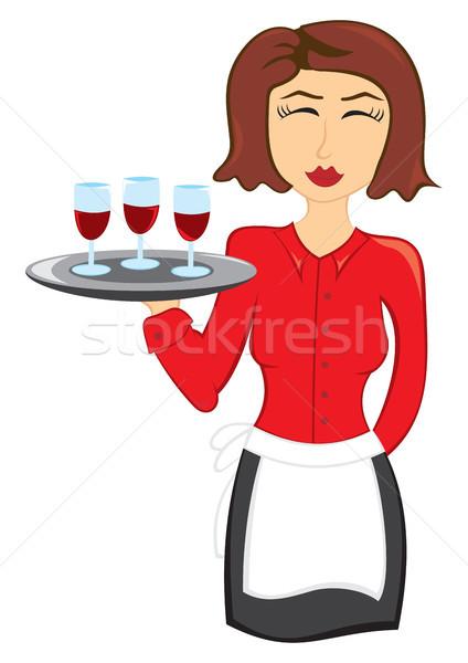 ウエートレス ワイン 女性 2 眼鏡 ストックフォト © oxygen64