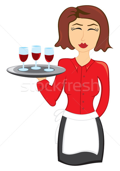 официантка вино женщину два очки Сток-фото © oxygen64