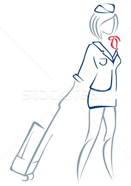 Hava hostes üniforma bavul tekerlekler Stok fotoğraf © oxygen64
