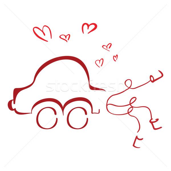 Luna de miel coche recién casados Pareja boda amor Foto stock © oxygen64