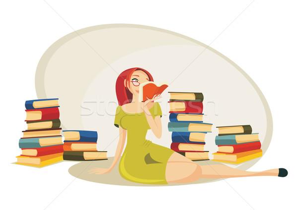 Leitura livro atraente bibliotecário sessão tapete Foto stock © oxygen64