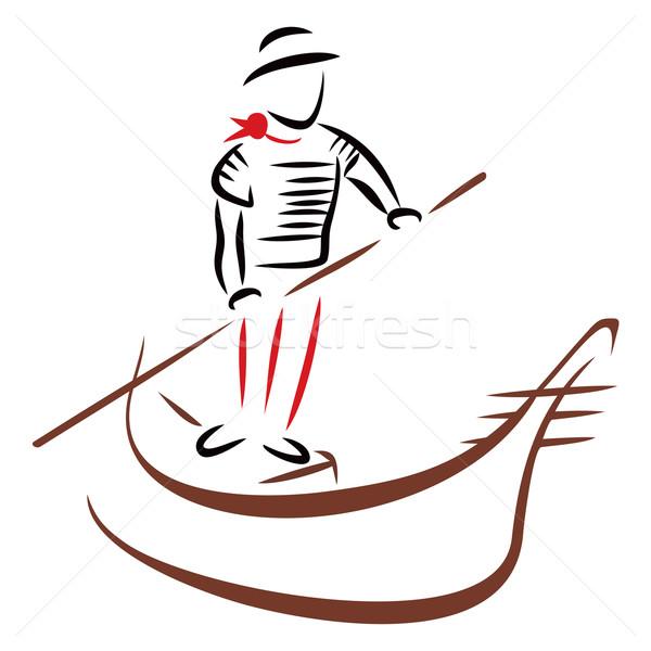 Gondol seyir geleneksel Venedik tekne çizim Stok fotoğraf © oxygen64