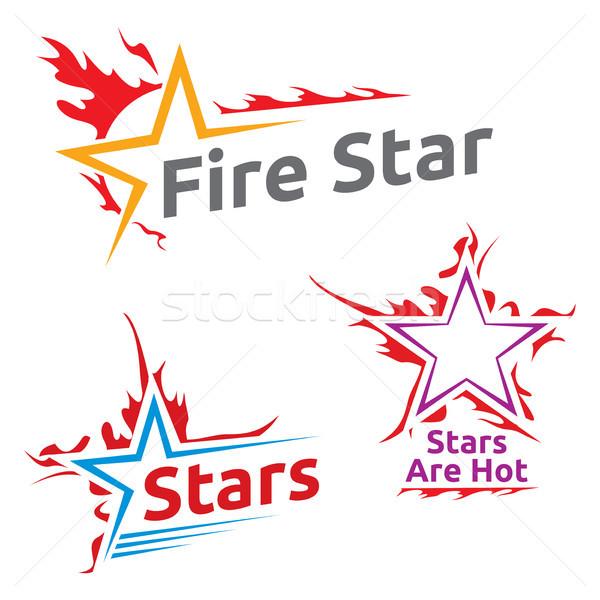 Symbolen brandend sterren ingesteld drie kleurrijk Stockfoto © oxygen64