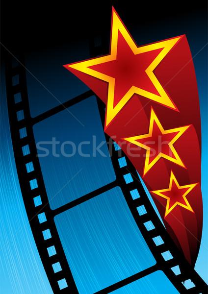 Film poszter film csillagok kék háttér Stock fotó © oxygen64