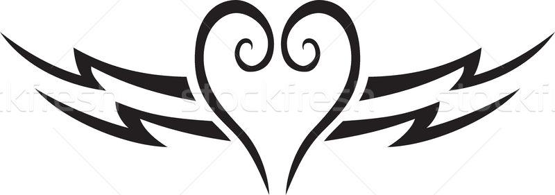 Szív tetoválás édes szív alak szerelmespár esküvő Stock fotó © oxygen64