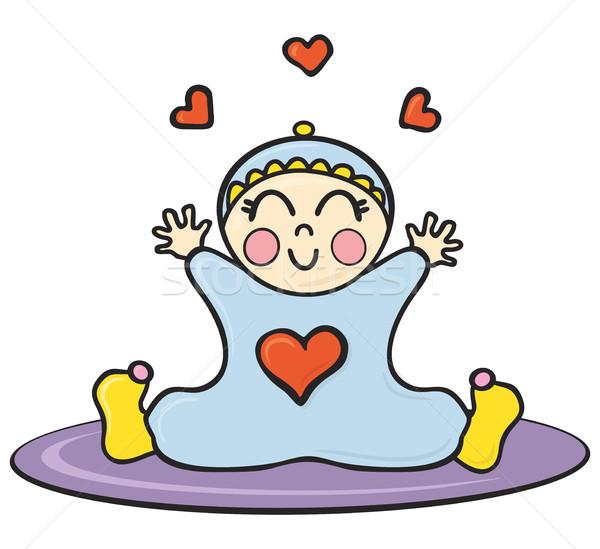 Baba szőnyeg illusztráció boldog ül lány Stock fotó © oxygen64