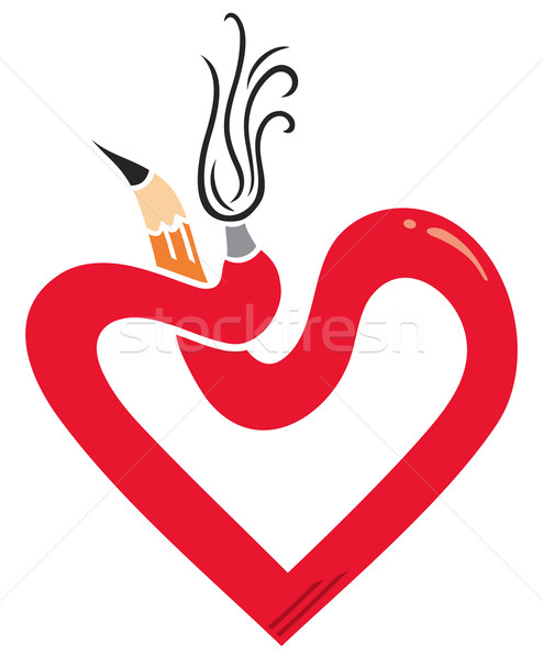 Artistik kalp simge kalem fırçalamak ahşap Stok fotoğraf © oxygen64