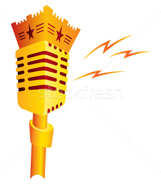 Música ouro microfone isolado branco Foto stock © oxygen64