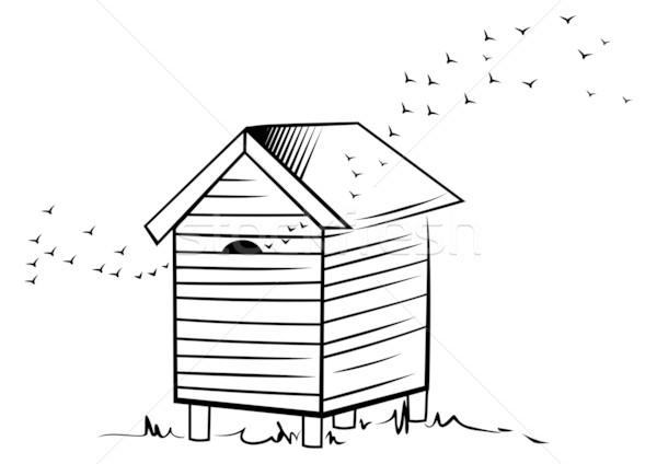 Pszczoła ul ilustracja ul szkic stylu Zdjęcia stock © oxygen64