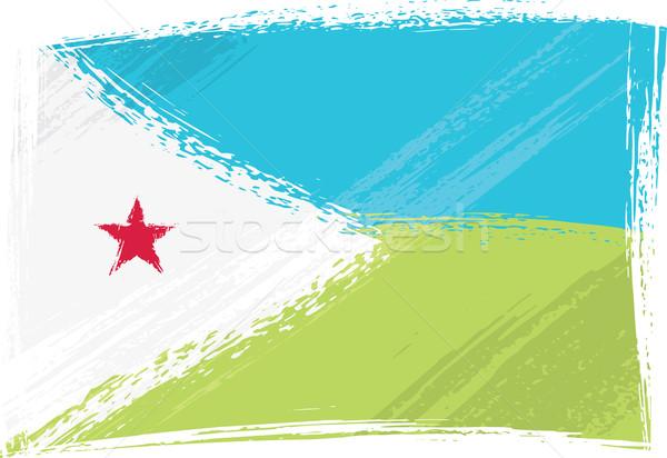 Grunge Dzsibuti zászló stílus kék piros Stock fotó © oxygen64