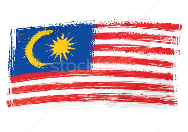 Grunge Malásia bandeira estilo Foto stock © oxygen64