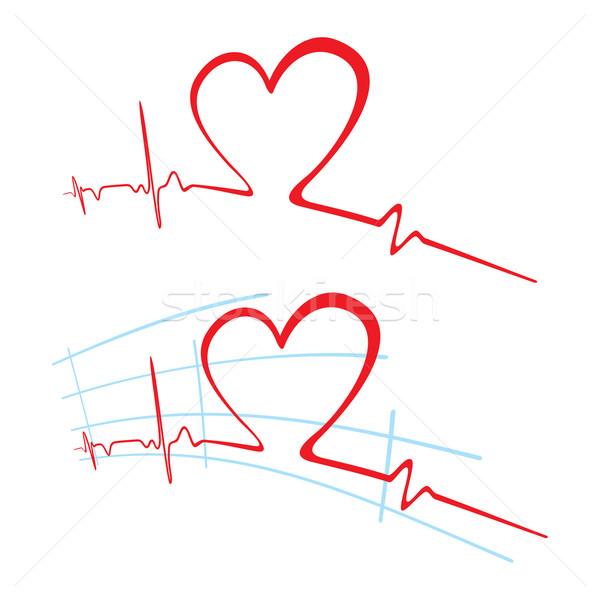 кардиограмма любви аннотация сердцебиение формы сердца Сток-фото © oxygen64