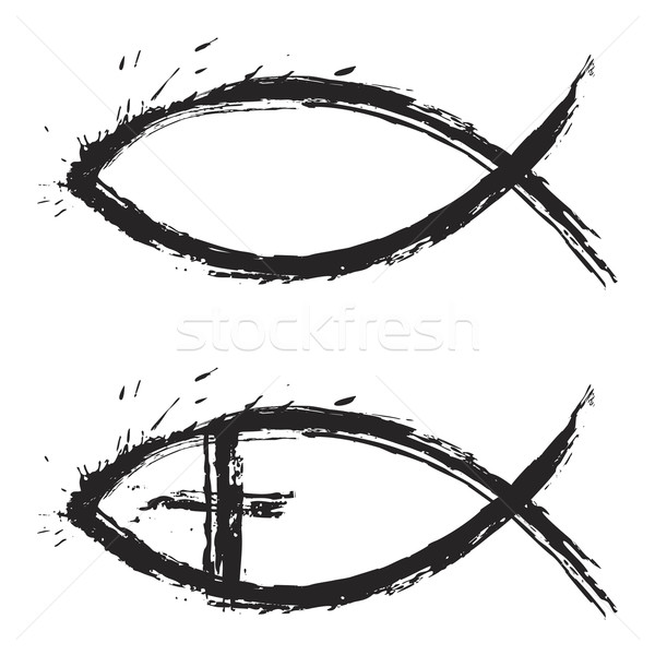 Poissons christian religion symbole grunge style Photo stock © oxygen64