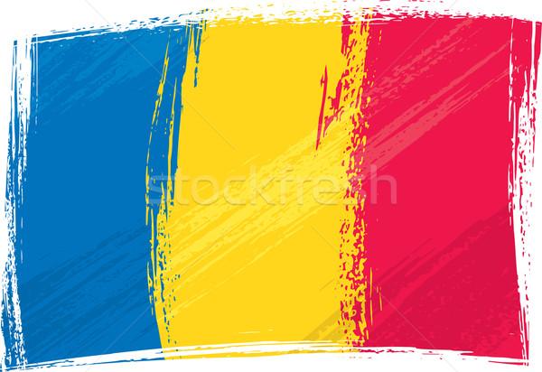 Grunge Roemenië vlag stijl Blauw Europa Stockfoto © oxygen64