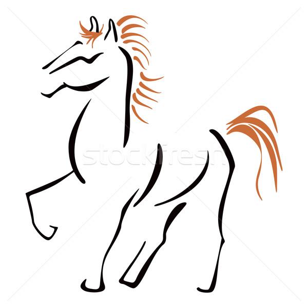 Stallion at sketch Stock photo © oxygen64